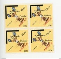Angola 1976-Haltérophilie,timbre Surchargé -YT 614***MNH EN BLOC DE 4 - Angola