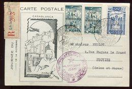 Maroc - Carte De La Journée Du Timbre De Casablanca En Recommandé En 1945 Pour Provins - Prix Fixe - Réf F41 - Briefe U. Dokumente