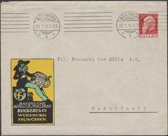 Bavière 1914. Enveloppe, Entier Timbré Sur Commande. Peinture Sur Verres à Bière. Chapeau, Ruckert, Chope - Bières