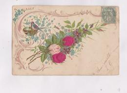 CPA , FANTAISIE  EN RELIEF (gauffrees) FLEURS En 1906! - Fêtes - Voeux
