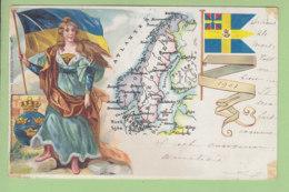 SUEDE, SWEDEN : Drapeau De La Suède. Dos Simple. 2 Scans. Edition Raphaël Tuck, Un Mot à La Poste - Schweden