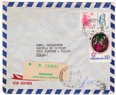 M447 Uruguay Lettre Recommandée Registered Letter 1976 Montevideo To Monthey, Franklin Jefferson Adams Livingstone Stamp - Uruguay
