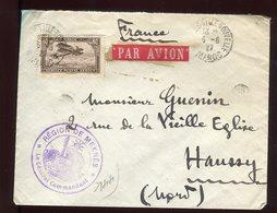 Maroc - Enveloppe En FM De Fez Par Avion ( Tarif , étiquette )  Pour Haussy En 1927 - Prix Fixe - Réf F45 - Maroc (1891-1956)