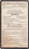 Doodsprentje Priester/Prêtre Alphonsius Andries °1850 Meerhout †1924 Antwerpen/Mortsel/Waarloos (B89) - Obituary Notices