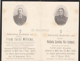 Doodsprentje Frans Willems °1837 Mol †1815 & Echtg. Nathalia Van Leemput °1838 Mol †1910 (B90) - Obituary Notices