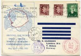 !!! THEME POLAIRE VOL SPECIAL OSLO - THULE - TOKYO 1953 - Vols Polaires