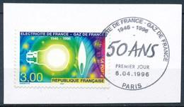 France - 50 Ans D'EDF-GDF YT 2996 Obl. 1er Jour Sur Support Carton - France