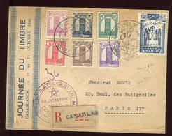 Maroc - Enveloppe De La Journée Du Timbre De Casablanca En Recommandé Pour Paris En 1945 - Prix Fixe - Réf F47 - Maroc (1891-1956)