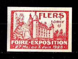 Francia 1928 Viñeta De La Feria Exposicion De Flers Orne Nuevo Con Charnela - Philatelic Fairs