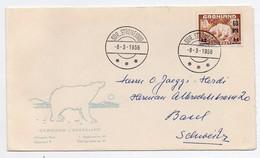 !!! PRIX FIXE : THEME OURS, ENVELOPPE 1ER JOUR DU GROENLAND DE 1956 - Faune Arctique