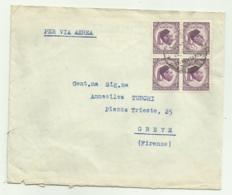 FRANCOBOLLI LIBIA 10 MILLS IN QUARTINA 1955 VIA AEREA SU BUSTA - Libya