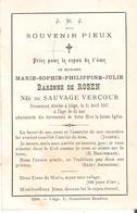 Faire-part De Décès Marie-Julie BARONNE De ROSEN - Liège 1/4/1887. - Décès