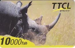 TARJETA DE TANZANIA DE 10000 TSH  DE TTCL DE UN RINOCERONTE (RHINO) RARA - Tanzania