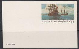 USA 1984 Ark And Dove, Maryland 1634 Postcard Unused (41868) - Postwaardestukken