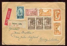 Maroc - Env. Commerciale (négociant En Philatélie) De Casablanca En Reco En 1927 Au Dos Vignettes  - Prix Fixe - Réf F51 - Maroc (1891-1956)