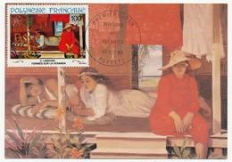 """POLYNESIE FRANCAISE - Carte Maximum - C Lemoine """"Femmes Sur La Véranda"""" 22 Dec 1983 - Papeete - Cartes-maximum"""