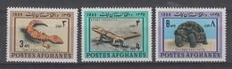 SERIE NEUVE D'AFGHANISTAN - GECKO TIGRE , LEZARD AGAME ET TORTUE N° Y&T 804 A 806 - Reptiles & Batraciens