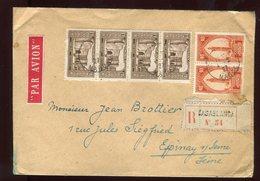 Maroc - Env. Commerciale (négociant En Philatélie) De Casablanca En Reco En 1927 Au Dos Vignettes  - Prix Fixe - Réf F52 - Maroc (1891-1956)
