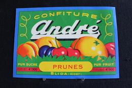 Algerie - Ancienne Etiquette De Pot De, Confiture Aux Prunes De La Marque - ANDRÉ - Fabrication A Blida ( Alger ) - Fruits Et Légumes