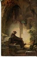 006192  Pater Auf Treppenstufe Sitzend - Künstlerkarten