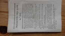 Bulletin Des Lois 68  Frimaire An XIV 1806   14 Pages - Decrees & Laws