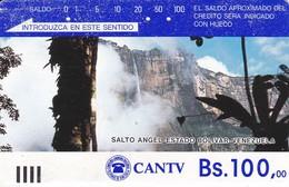 TARJETA DE VENEZUELA DE Bs.100 DEL SALTO DEL ANGEL (DETRAS COLOR PLATA - SILVER) - Venezuela