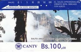 TARJETA DE VENEZUELA DE Bs.100 DEL SALTO ANGEL (DETRAS COLOR MARRON CON INSTRUCCIONES) - Venezuela