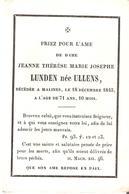 Faire-part Décès Dame Jeanne LUNDEN Née ULLENS Malines 18/12/1845. - Décès