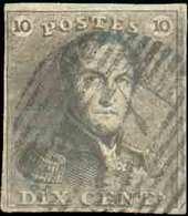 N°1 - Epaulette 10 Centimes Brune, TB Margée, Obl. P.47 GEMBLOUX Finement Apposée. Petit Mince/Kleine Verdunning. - B/TB - 1849 Epaulettes