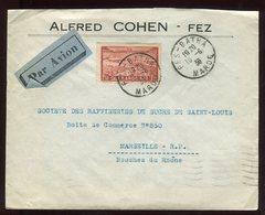 Maroc - Enveloppe Commerciale De Fez Pour Marseille En 1936 Par Avion - Prix Fixe - Réf F60 - Marokko (1891-1956)