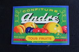 Vi-Pa / Ancienne Etiquette De Pot De, Confiture Aux Tous Fruits - De La Marque - ANDRÉ - Fabrication A Blida, Algerie - Fruits Et Légumes