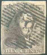 N°1 - Epaulette 10 Centimes Brune, TB Margée Et Petit Bord De Feuille Supérieur, Obl. P.83 MONS Centrale Et Nette. - Sup - 1849 Epaulettes