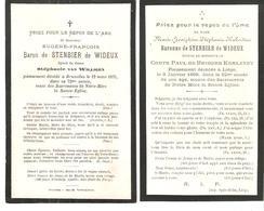 Faire-part Décès Baron De STENBIER De WIDEUX  (1875) Et BARONNE épouse Cte De BRIGODE KEMLANDT - Obituary Notices