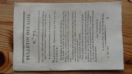 Bulletin Des Lois 71  Frimaire An XIV 1806   14 Pages - Decrees & Laws