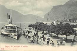Pays Div- Ref R524- Suisse - Bateaux - Bateau A Roue - Abgang Des Dampfers In Fluelen   - Carte Bon Etat - - Switzerland