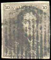 N°1 - Epaulette 10 Centimes Brune, TB Margée Et Belle Obl. RURALE à 14 Barres. - TB - 13698 - 1849 Epaulettes