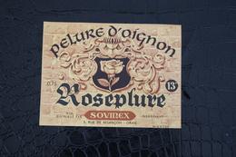 H-165 / Ancienne Etiquette De Pot De Pelure D'Oignon - De La Marque - Roseplure - Fabrication A Oran, Algerie - Fruits Et Légumes