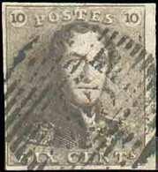"""N°1 - Epaulette 10 Centimes Brune, TB Margée Et Bdf Droit, Variété V.12, Pos. 120 """"traits Diagonaux Traversant Le Cadre - 1849 Epaulettes"""