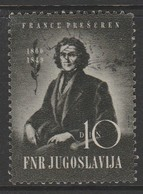 Yugoslavia 1949 The 100th Anniversary Of The Death Of Franc Presheren, 1800-1849 10 Din Multicoloured SW 602 O Used - 1945-1992 République Fédérative Populaire De Yougoslavie