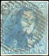 N°2 - Epaulette 20 Centimes Bleue, TB Margée, Obl. P.23 BRUGES Centrale Et Nette. - TB - 13701 - 1849 Epaulettes