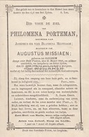 Doodsprentje Philomena Porteman °1846 Izegem †1888 / Josephus & Blandina Mestdagh / Augustus Missiaen  (B96) - Décès
