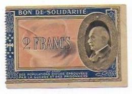BON SOLIDARITE GUERRE 1939-45 PETAIN 2 FRANCS - 1939-45