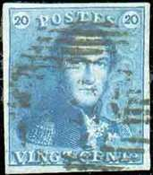 N°2 - Epaulette 20 Centimes Bleue, TB Margée, Obl. P.28 CINEY Finement Apposée. - Luxe - 13703 - 1849 Epaulettes