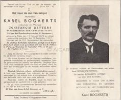 Doodsprentje Karel Bogaerts °1873 Putte †1947 Burgemeester Putte  Wwe Constancia Witters (B97) - Décès