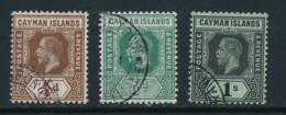 CAYMAN, 1912 ¼d, ½d, 1/- (white Back) VFU - Kaaiman Eilanden