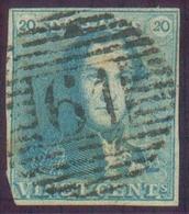 N°2 - Epaulette 20 Centimes Bleue, Touchée En Bas à Gauche Sinon Bien Margée Et TB Obl. P.61 HOUFFALIZE Idéalement Appos - 1849 Epaulettes