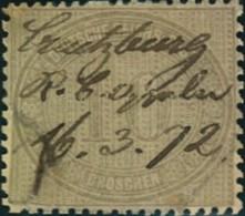 """1872: Michel-Nr. 12, 10 Groschen Innendienst, Federzug """"Creutzburg 16.3.72"""" (230,-) - Gebraucht"""