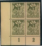 1945, BERLIN/BRANDENBURG 30 Pfg. Postfrischer Viererblock Plattenfehler IV (Feld 91) - Sowjetische Zone (SBZ)
