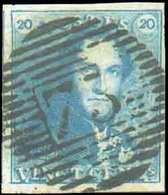 N°2 - Epaulette 20 Centimes Bleue, Marges Maxima Et Obl. P.73 LIEGE Centrale. - Superbe - 13707 - 1849 Epaulettes