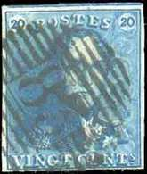 N°2 - Epaulette 20 Centimes Bleue, TB Margée Et Voisin, Obl. P.83 MONS Centrale. - TB - 13709 - 1849 Epaulettes